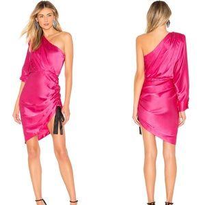 Retrofete Neva One Shoulder Mini Dress Pink